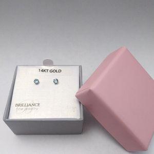 Nwt CZ 14kt Gold DEC Birthstone Stud Earrings